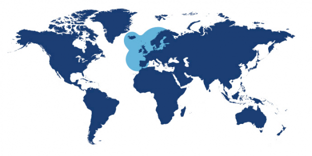 World map showing waters where Coley is found.