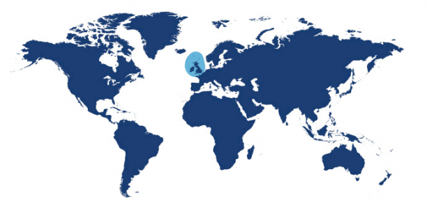 World map showing waters where Langoustine is found.